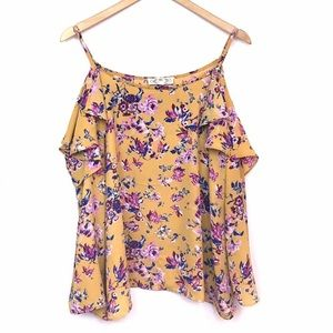 Pink Rose Open Shoulder Floral Blouse Yellow Large